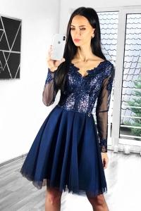 37dfd84ff6c0 Bicotone sukienka mini koronkowa z rękawem granatowa