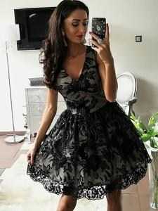 a12c1f55f0 Elizabeth sukienka wieczorowa Sara mini koronkowa rozkloszowana