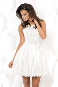 e0e37e3fcc Bicotone sukienka mini koronkowa rozkloszowana biała