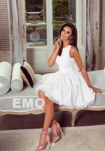 26e4e806de975f EMO sukienka wieczorowa Alex mini biała kwiatki 3d