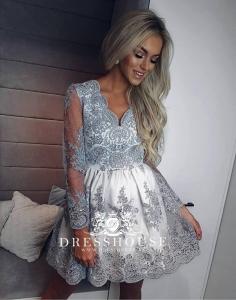 e5a1761a12 EMO sukienka wieczorowa mini Amelia biało-szara