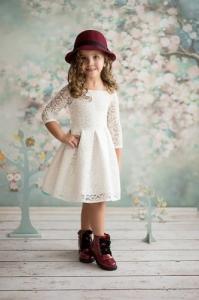 de8a876423 S.Moriss sukienka Scarlet KIDS ecru