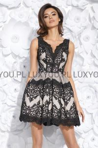 cbc8e910d09b Bicotone sukienka mini koronkowa rozkloszowana czarno-beżowa