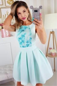 699468e4cb4a Bicotone sukienka wieczorowa mini kwiatki miętowa
