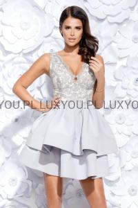 a75de15df2aa Bico sukienka wieczorowa mini koronkowa falbany