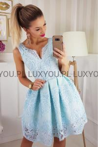 4dee379beb1e Bico sukienka wieczorowa mini koronkowa miętowa