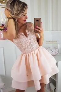 9cf84782f755 Bico sukienka wieczorowa mini koronkowa łososiowa