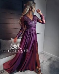 3e9c0a8a3b EMO sukienka wieczorowa maxi LUNA jagodowa