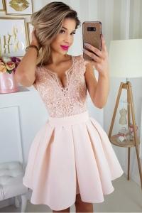 3cced18c3078 Bico sukienka wieczorowa mini koronkowa motylek kieszenie łososiowa