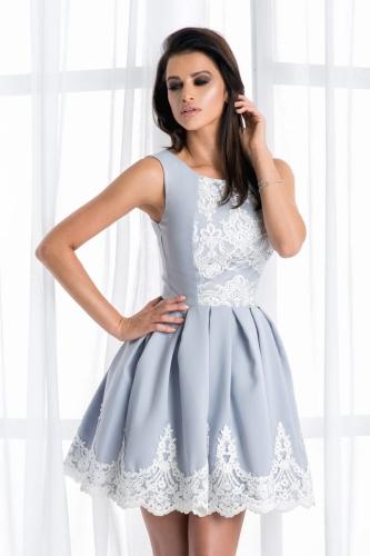 5e555c7f07 Bicotone sukienka mini koronkowa rozkloszowana szara
