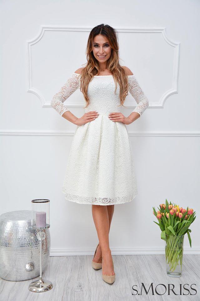 92b11f5d62 S.Moriss sukienka Scarlet midi biała