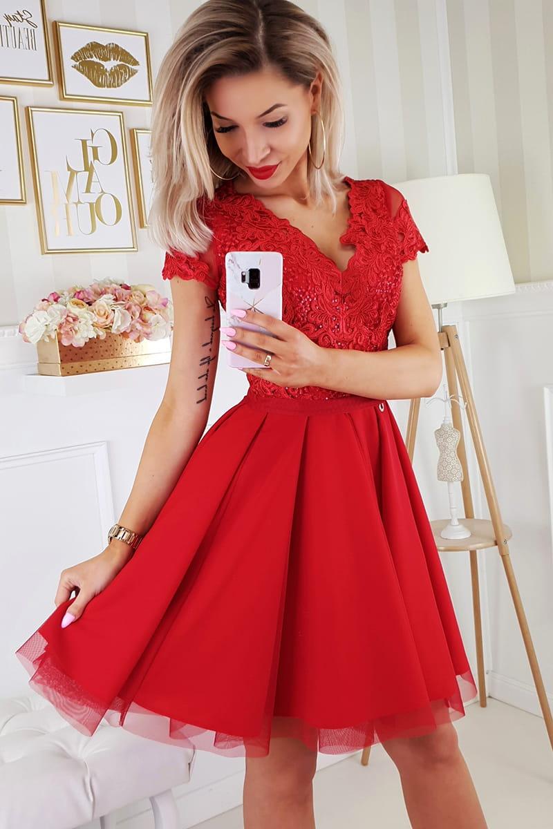 e401317a2d Bicotone sukienka wieczorowa mini koronkowa czerwona