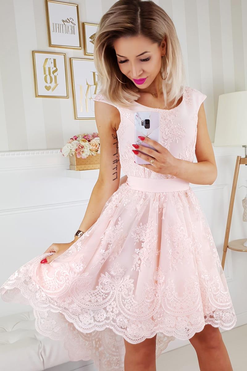 74000c3838 Bicotone sukienka wieczorowa mini z trenem brzoskwiniowa