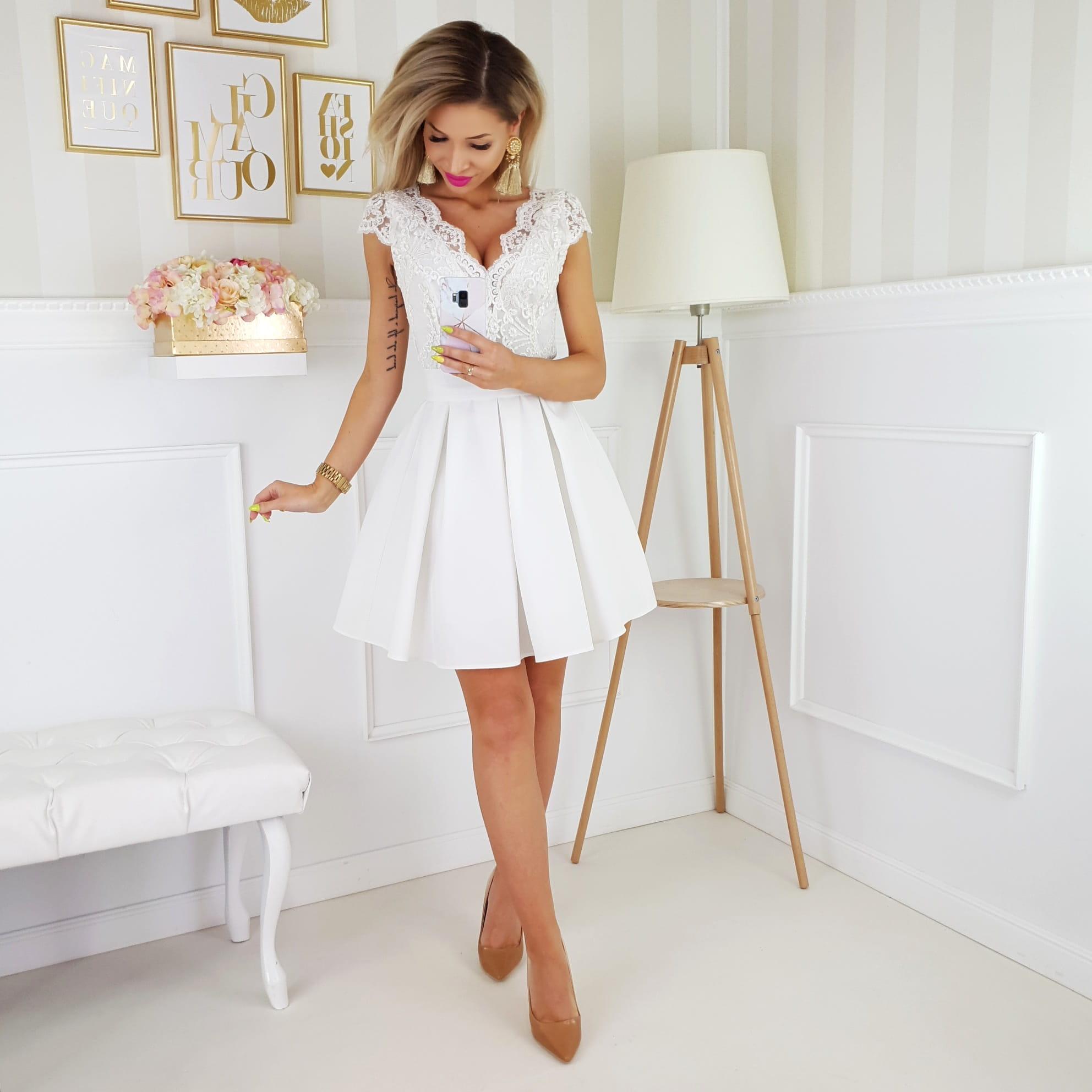 5a6c2e8398d789 Bicotone sukienka wieczorowa mini Aleksandra | LUXYOU.PL