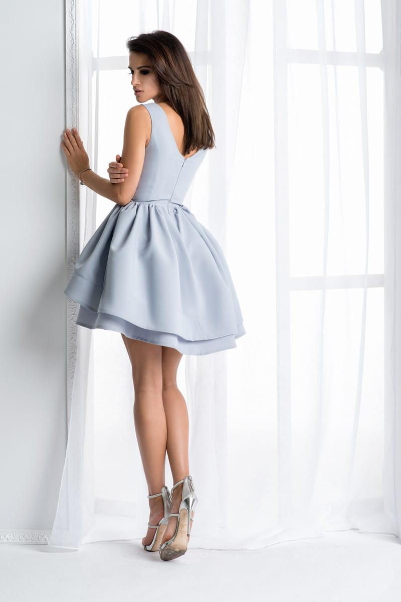 3b549b280a Bicotone sukienka mini koronkowa rozkloszowana szara