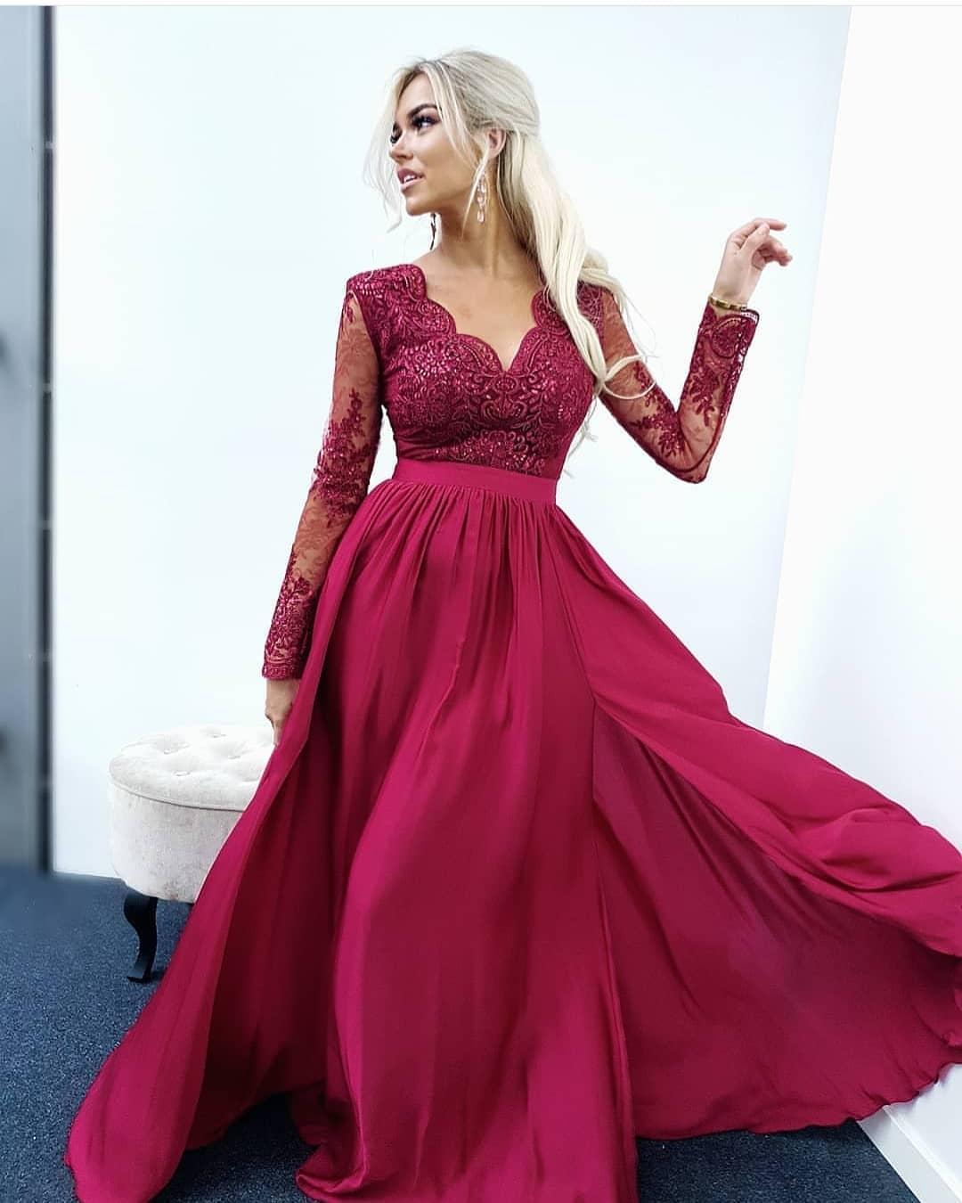 2e7114a016 EMO sukienka wieczorowa maxi LUNA bordowa