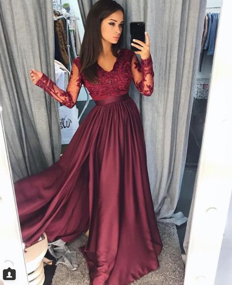 06bb05db27 EMO sukienka wieczorowa maxi LUNA burgundowa