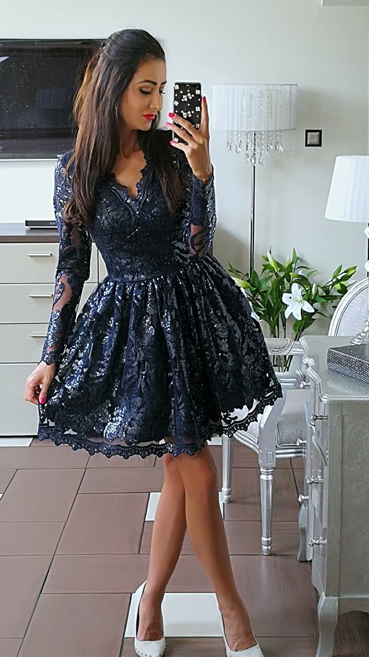 b9b758145ff996 Elizabeth sukienka wieczorowa Vivien mini koronkowa rozkloszowana ...
