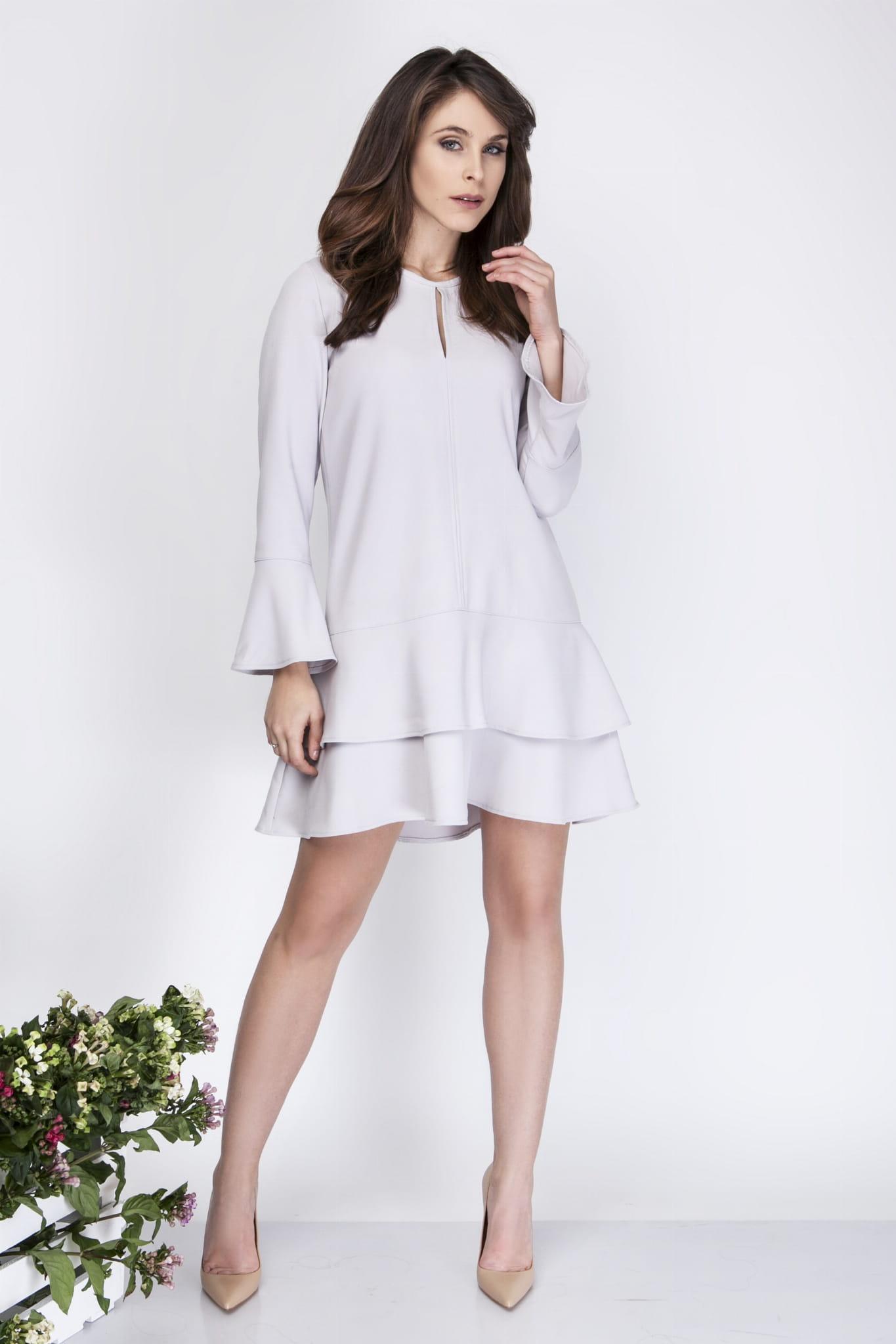 6c47763d12 Milu by Milena Płatek MP273 Luźna sukienka mini z podwójną falbaną ...