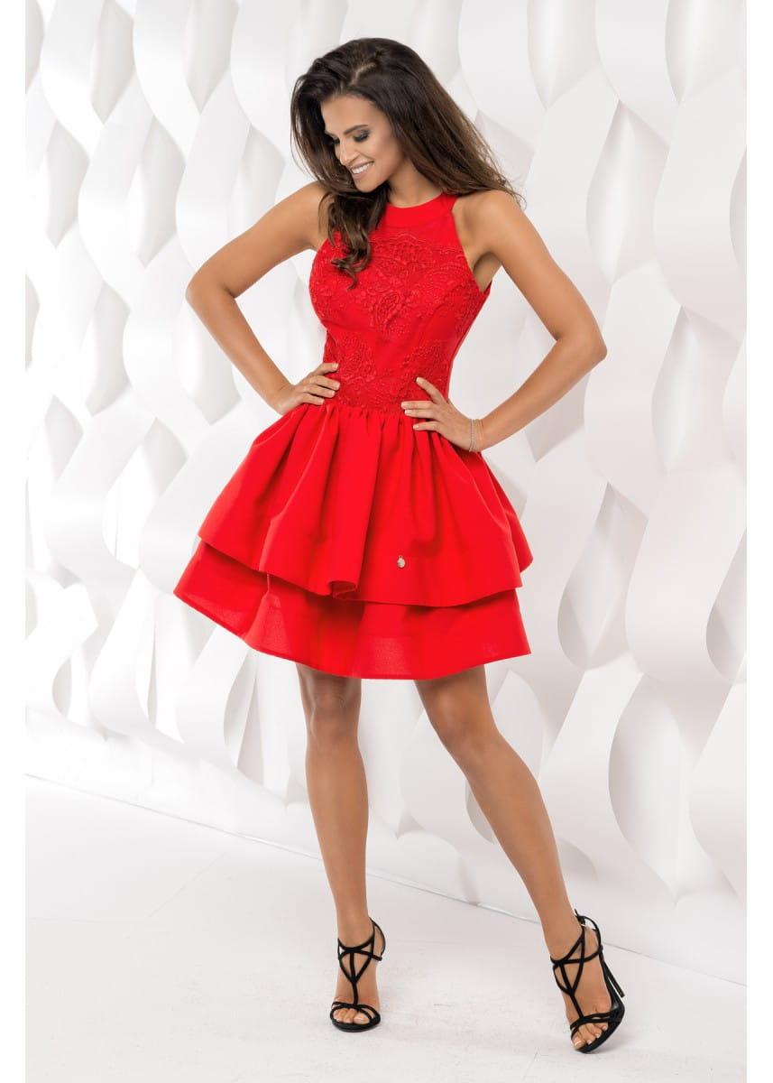 90ce4286b9 Wspólne Bico sukienka mini koronkowa rozkloszowana czerwona