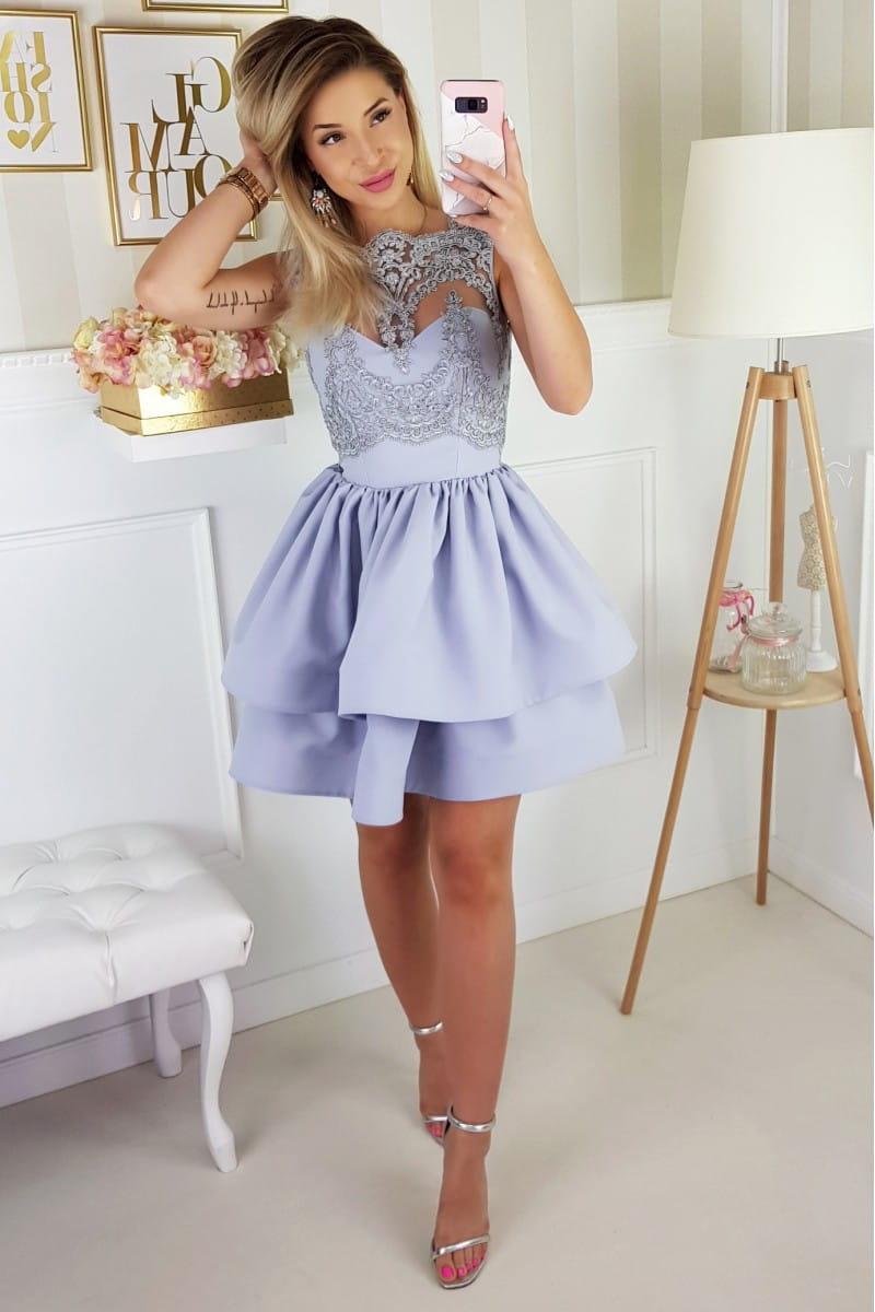ea4d90cf2b ... Bicotone sukienka mini koronkowa rozkloszowana koronka szara