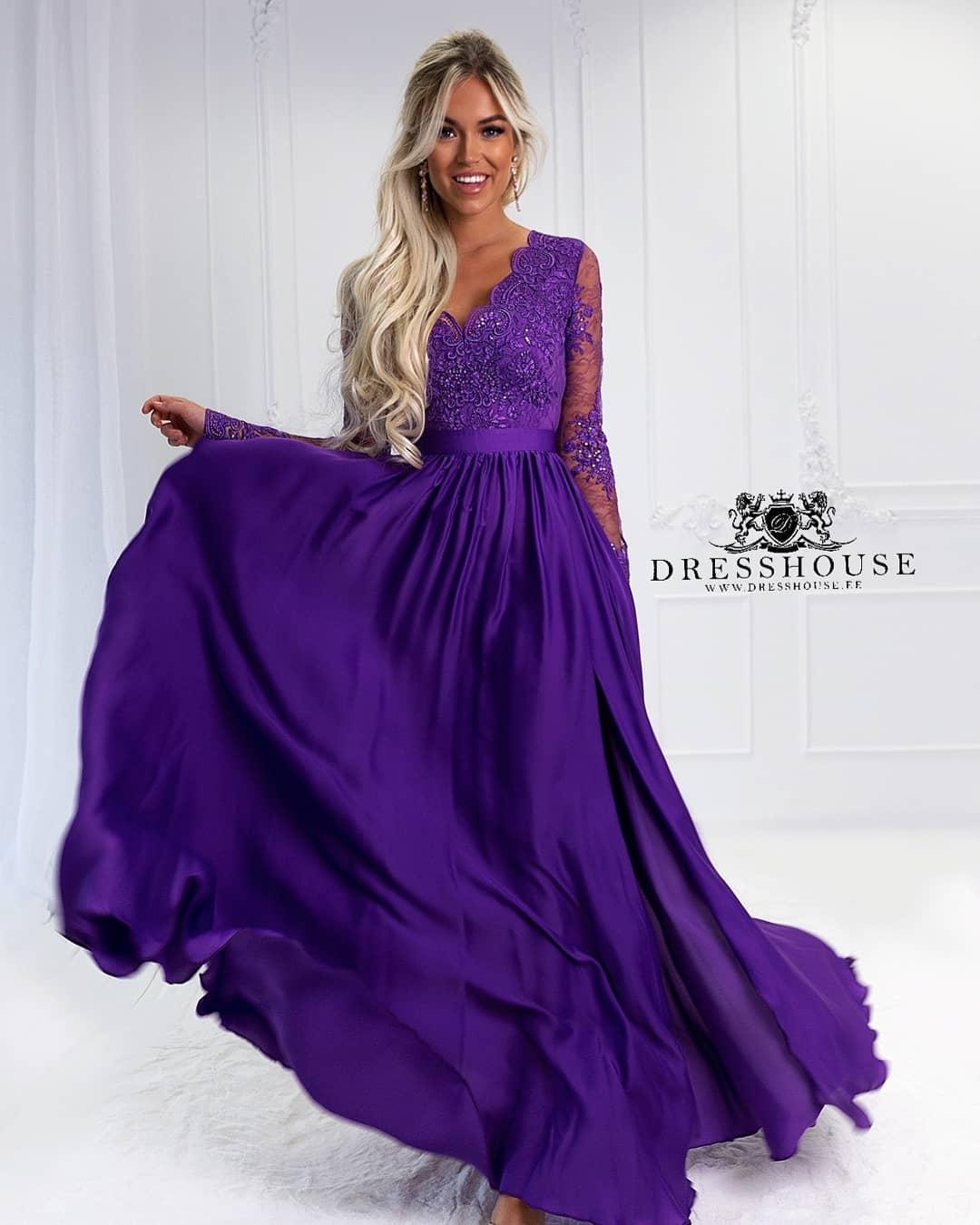 9d9fd51004 EMO sukienka wieczorowa maxi LUNA fioletowa