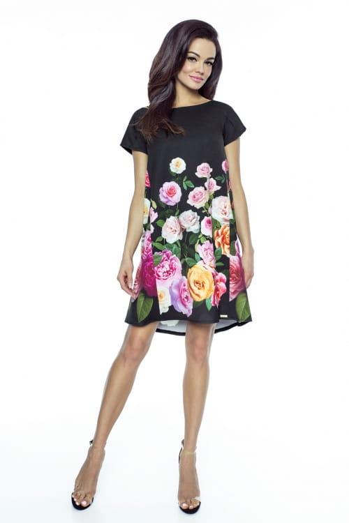 3ddfc45797 Kartes Moda Trapezowa sukienka w róże KM222