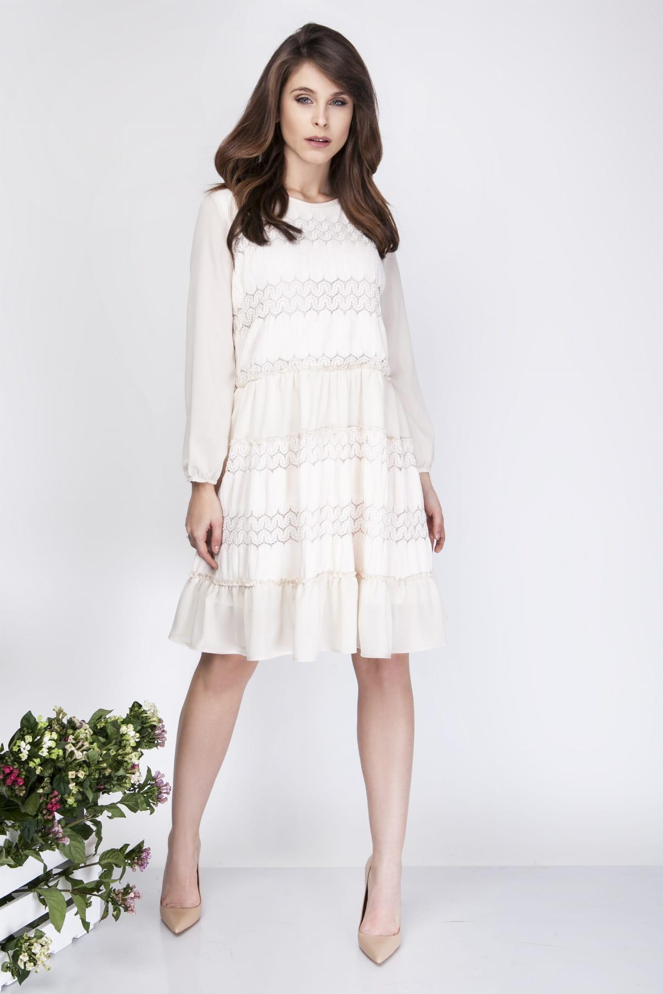 43d2ec518 Milu by Milena Płatek MP271 luźna sukienka mini z koronką Ecru ...