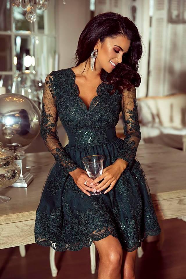 41e59acbb8 EMO sukienka wieczorowa mini Amelia butelkowa zieleń