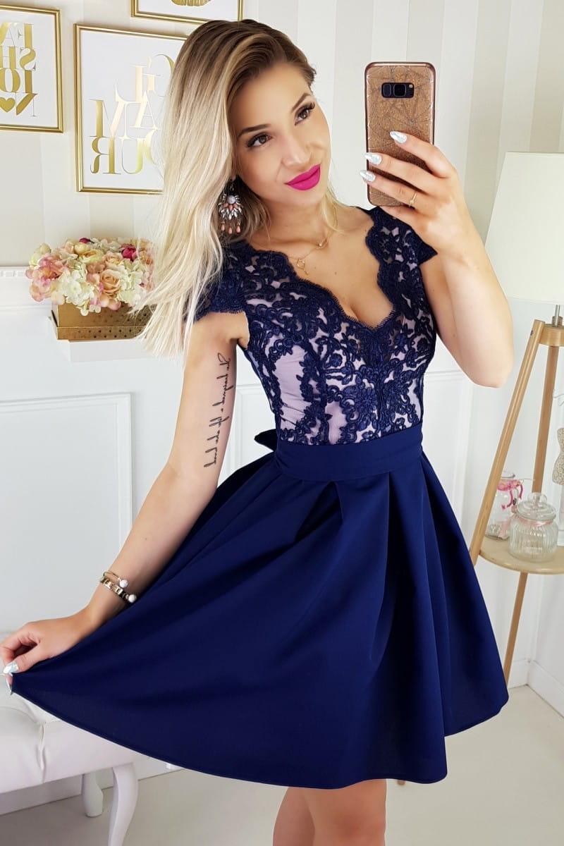 b33305acc9eafa Bicotone sukienka wieczorowa mini koronkowa granatowa motylek