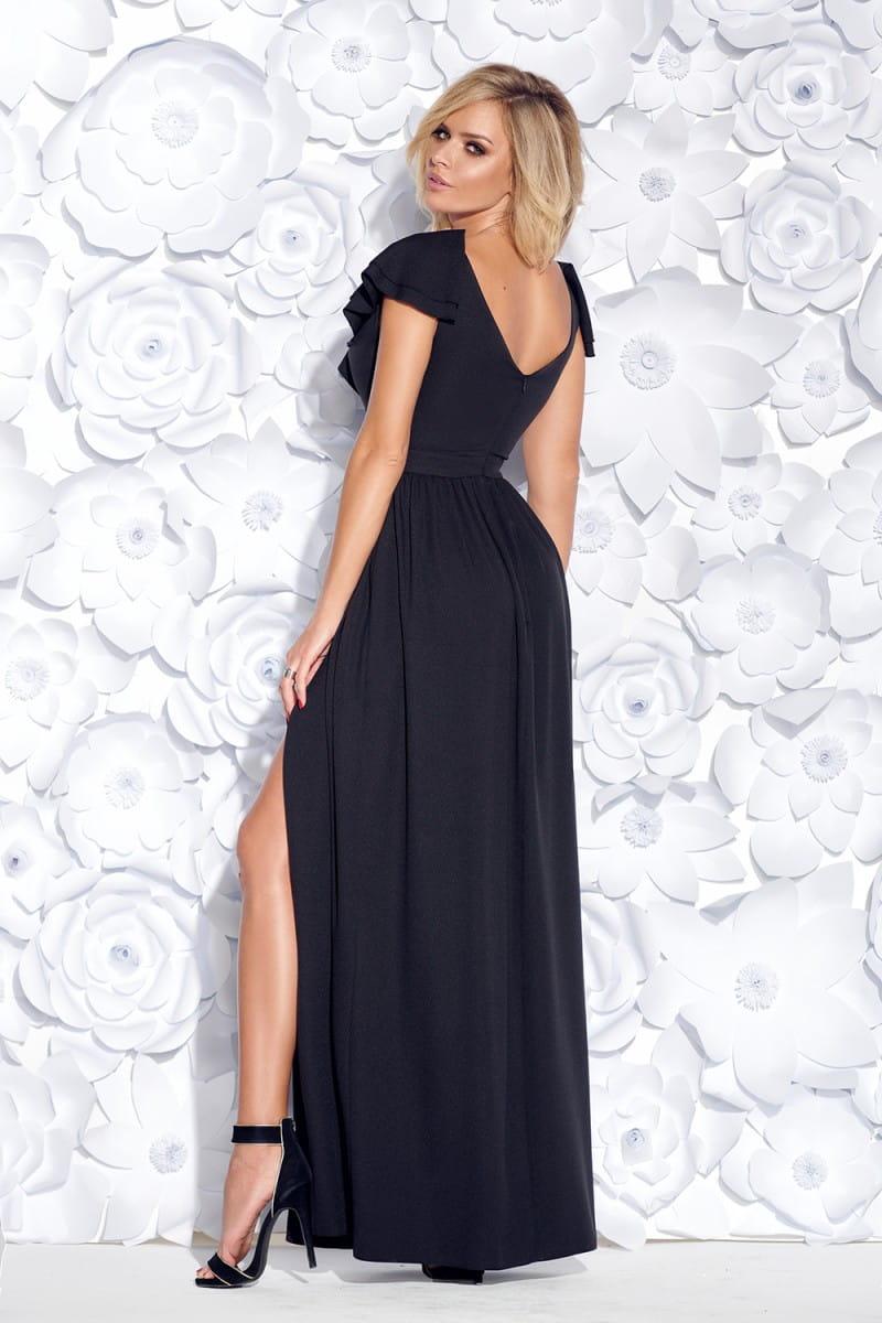 cd78edb878 ... Bicotone sukienka wieczorowa maxi falbany czarny ...