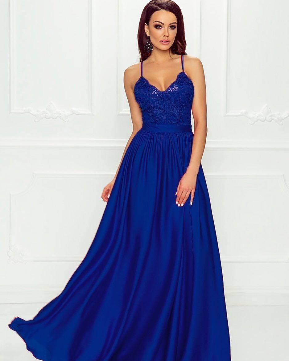0efedce7d9 EMO sukienka wieczorowa maxi BELLA chabrowa