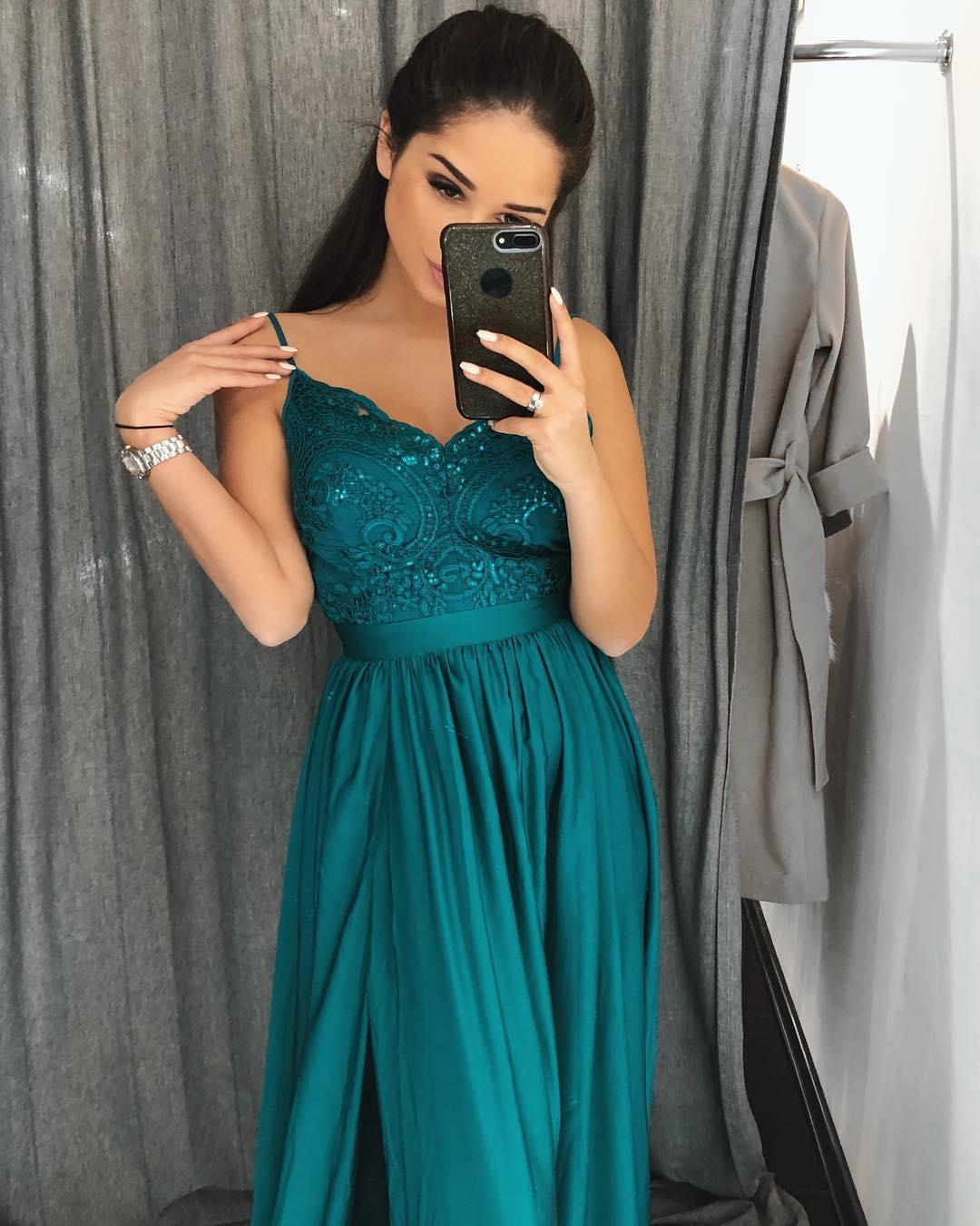 1eaa8e6529 EMO sukienka wieczorowa maxi BELLA szmaragdowa